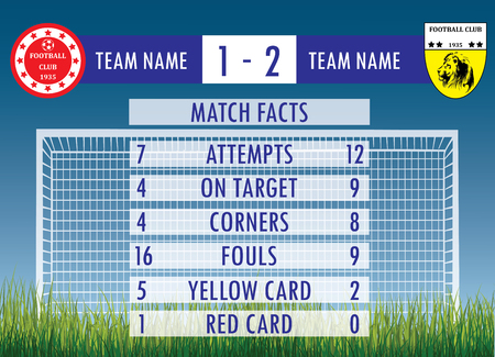 crossbars: Soccer or football match infographic elements and Statistics Illustration