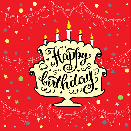 suprise: Happy birthday, cute invitation or greeting card with cake.