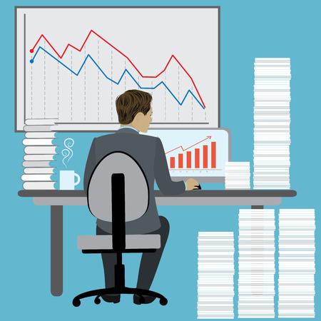 Business Man Sitting Desk Illustration