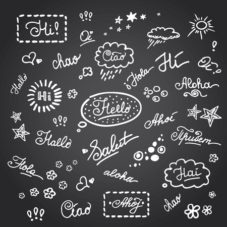ciao: Hand lettering Hello on different languages,stock vector illustration