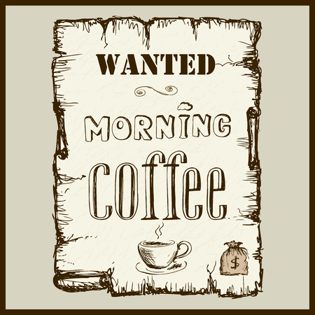 brigand: Vintage poster in Wild West style - wanted morning coffee Illustration