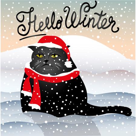 morose: sad cat sitting in the snow, hello winter, stock vector illustration Illustration