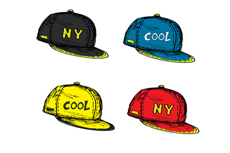 set of realistic baseball cap in different colors,