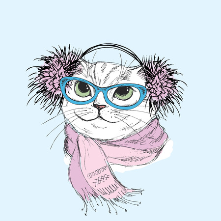 Cat in a scarf and glasses. Hipster. Vector illustration for a greeting card, poster, or print on clothes. Illustration