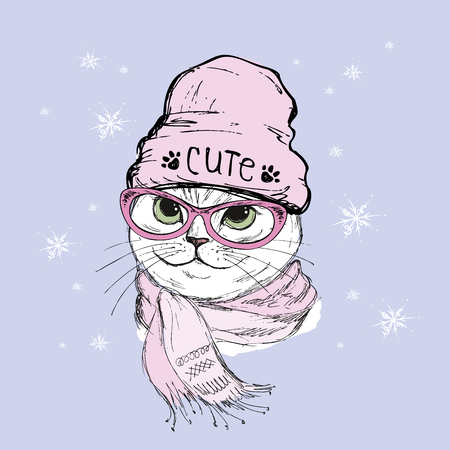 Portrait of cat hipster with glasses,hat and scarf, hand drawn vector illustration