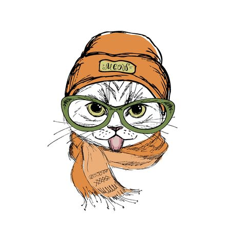 Funny fashion cat face showing tongue,hat and scarf,hand drawn isolated on white background,vector illustration