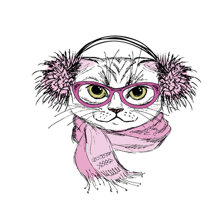 Portrait of a cat with scarf and glasses hipster,hand drawn isolated on white, vector illustration