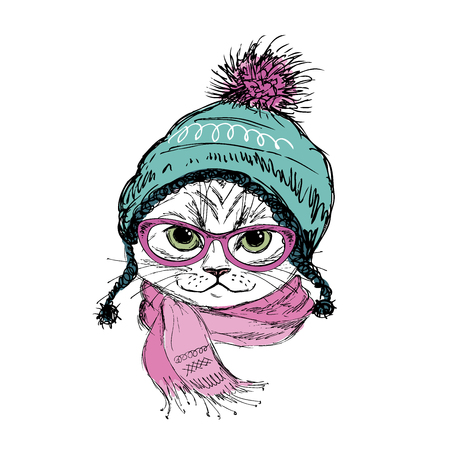 Fashion Cat in hat ,scarf and glasses. Hipster isolated on white. Vector illustration for a greeting card, poster, or print on clothes.