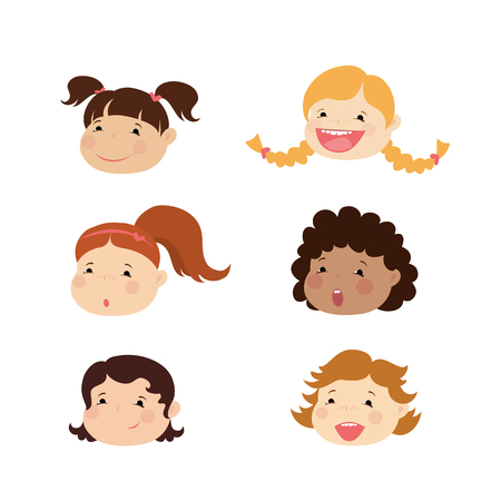 Emoticon icons set of cute girl with various emotions,isolated on white,vector illustration Illustration