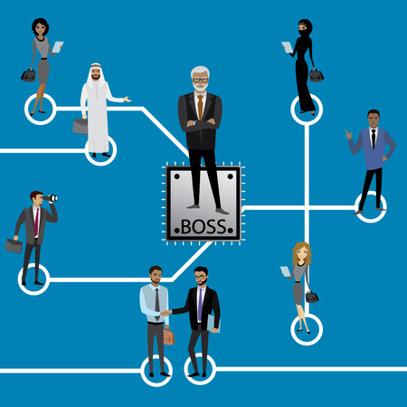 Group of business persons standing on Microchip and Circuit board. Cpu. Microprocessor.Business concept vector illustration.