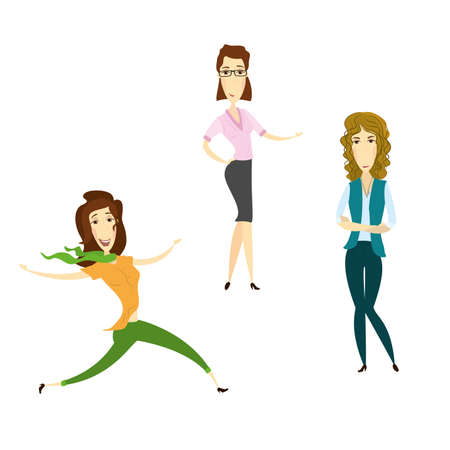 Funny cartoon woman characters, different poses, isolated on white background,vector illustration Illustration