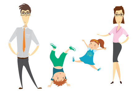 appointments: Cartoon family - mother, father, daughter and son. Isolated on white background.Vector illustration.