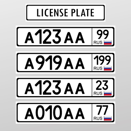 Russian license number plate. Flat style design ,vector illustration Vetores