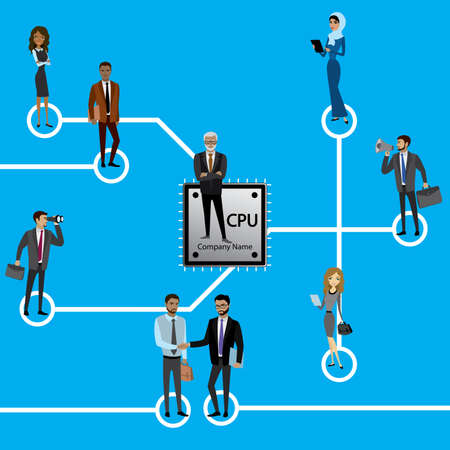 microprocessor:  Group of business persons standing on Microchip and Circuit board. Cpu. Microprocessor.Business concept vector illustration. Stock Photo