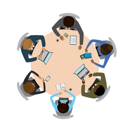 Six people different races  sitting and working together at the round table. Teamwork, brainstorming, startup.Isolated on white . Flat vector illustration
