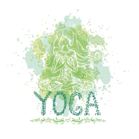 spiritual energy: Girl in yoga pose. Doodle hand drawn vector illustration. Logo, icon or card for healthy life, sport, fitness, pilates and yoga club.