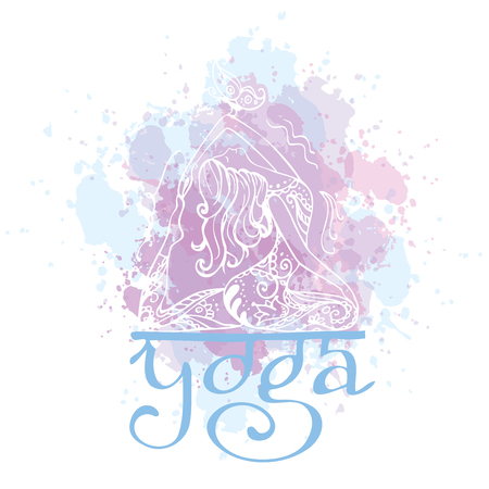 chakra energy: Girl in yoga pose. Doodle hand drawn vector illustration. Logo, icon or card for healthy life, sport, fitness, pilates and yoga club.