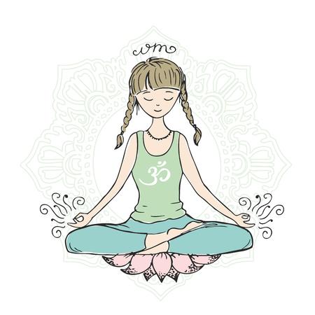 Ragazza in posa di loto di yoga, disegnato a mano disegnato schizzo isolato, illustrazione vettoriale di riserva Vettoriali