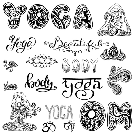 spiritual energy: Yoga set with lettering,ornament,yoga pose. Isolated on white. Stock vector isolated