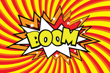 Boom Comic sound effects in pop art style. Burst best graphic effect with label and text in retro style. Vector illustration