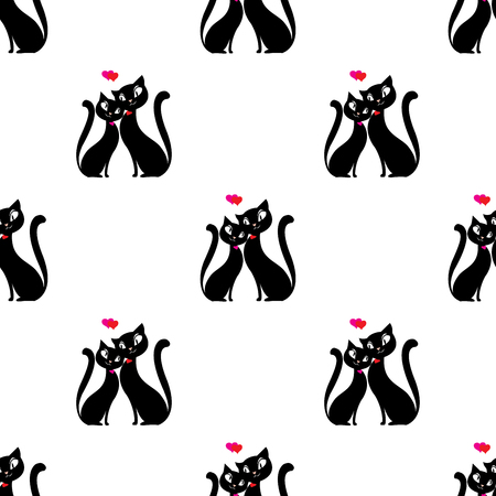 A seamless pattern Couple of cats in love. Ilustração