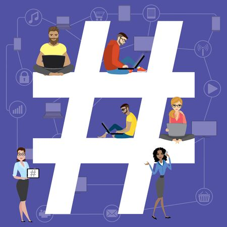 using smartphone: Hashtag illustration of young people using laptop and smartphone for sending posts and sharing them in social media. Big hashtag symbol design with guys and women, flat design concept, vector Illustration