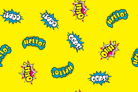 cartoon bomb: A Seamless pattern comic speech bubbles illustration.