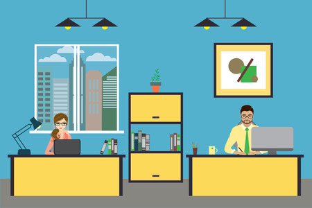 furniture design: Cartoon business people working at home or modern office