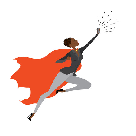 Super Hero african amercan woman in the fly with smart phone Illustration
