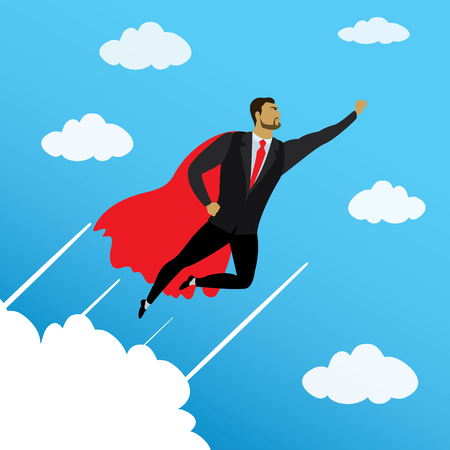 Businessman looking like Super hero flying to success in sky