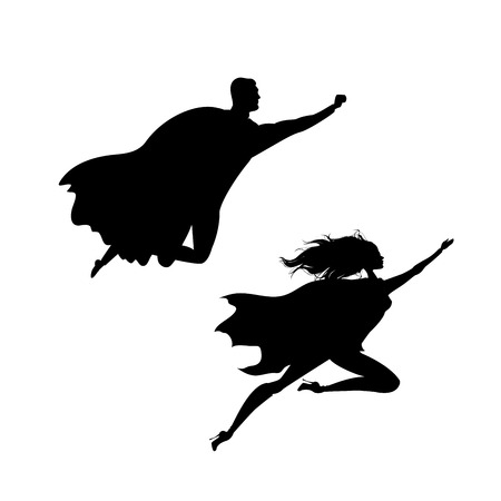 Super hero man and woman  silhouette, isolated on white background Illustration