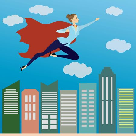 skys: Business woman superhero flying in the sky above the office skys