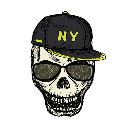 Scary skull in fashionable glasses and cap, hand drawn, isolated on white background stock vector illustration