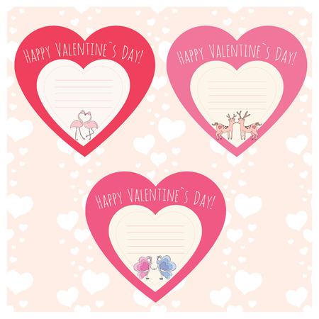 Hearts with Couple of deer,flamingo and butterfly. Valentines Day template cards or stickers. Vector illustration