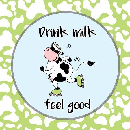 Pozytywne, szczęśliwy krowy na rolkach, śmieszne ilustracji wektorowych kreskówek
