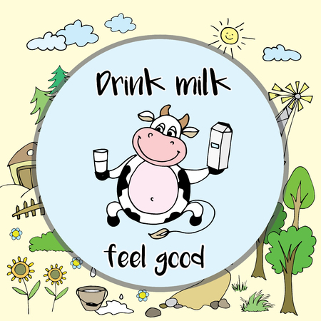 feel good: Positive, happy cow with milk, funny cartoon farm background , vector illustration Illustration