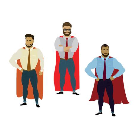 Super Businessman set,Hero isolated on white background,vector illustration