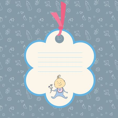 Baby boy arrival card or shower card. Place for text. Stock vector illustration.