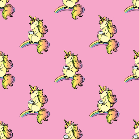 Pattern with cute unicorn illustration.