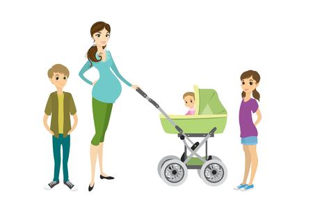 Jolie jeune femme enceinte avec un landau et des enfants Banque d'images - 84988014