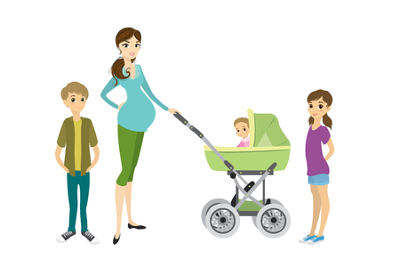 Pretty young pregnant woman with a pram and children