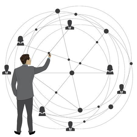 Hombre de negocios dibuja un esquema de red empresarial global, conexión de personas. Ilustración de vector de stock