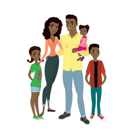 African American family. Father, mother, son and daughters.Cartoon Vector illustration