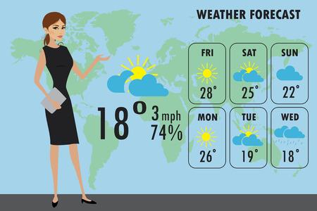 TV meteorólogo en el trabajo, stock de dibujos animados ilustración vectorial