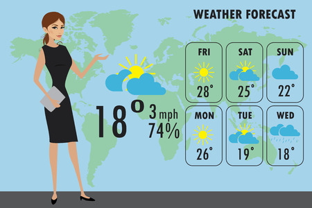 TV weather reporter at work,stock cartoon vector illustration