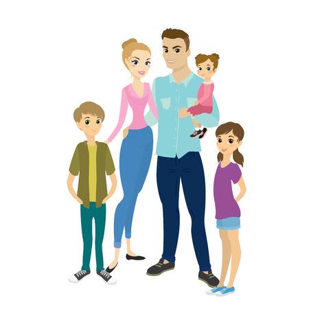 幸せな家族の肖像画白い背景に孤立した人々を笑顔。ストックフラットベクトルイラスト
