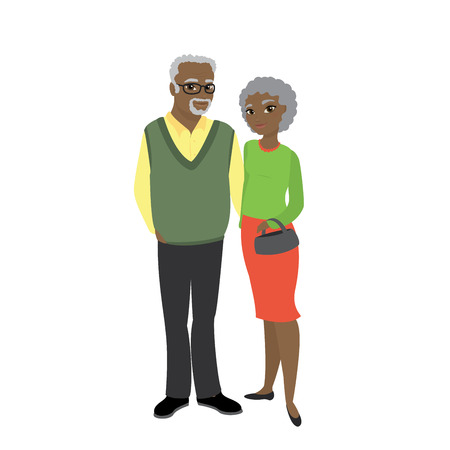 A pair of african american old people, grandparents and isolated on white background,stock cartoon vector illustration