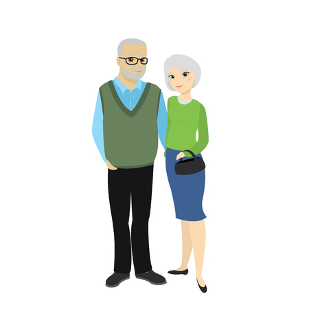 Happy Cute Old Man and Lady, Grandfather and  Granny , Cartoon Family Character isolated on white background, Vector Illustration