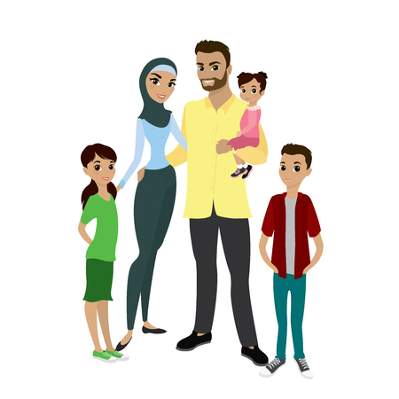 guy standing: Happy muslim family- parents,their son and daughters. Cartoon Vector illustration isolated on white background Illustration