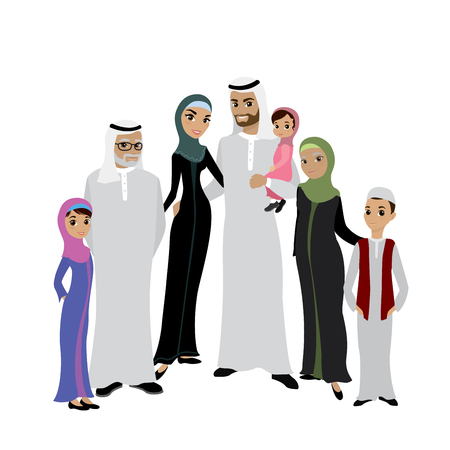Happy muslim arabic family isolated on white background in flat style. Arab people father, mother, son, daughter, grandmother and grandfather,cartoon vector illustration